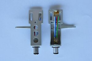 NEW-Silver-Turntable-Headshell-fits-Technics-SL1200-MK2-Gold-Plated-Leads-Wires