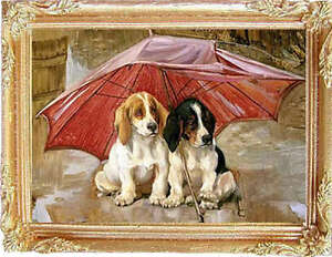TWO-PUPS-IN-THE-RAIN-Miniature-FRAMED-Dollhouse-Picture-MADE-IN-AMERICA