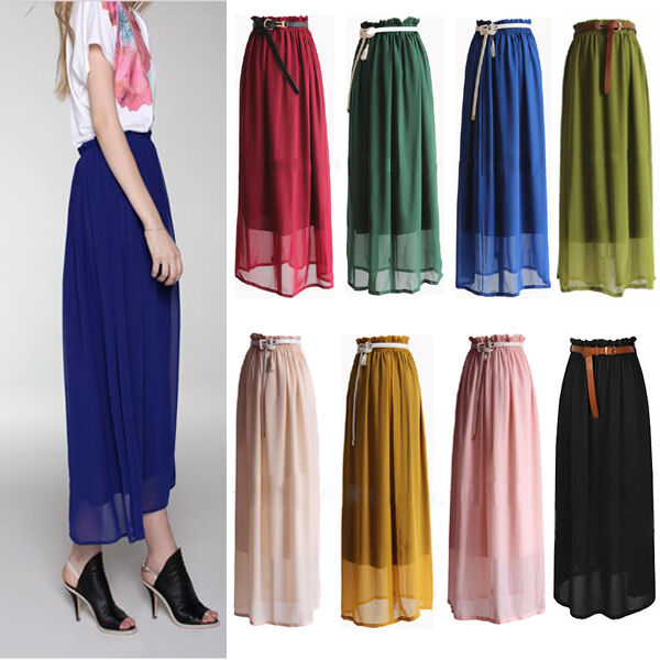 Hot Sexy Elegant Chiffon Pleated Long Maxi Skirt Elastic Waist Band Dance Dress