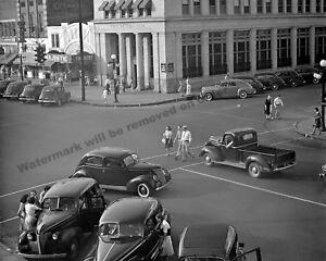 Photograph-Vintage-Image-Old-Cars-Street-Corner-Florence-Alabama-1942-8x10