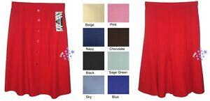 Womens-Calf-Length-A-Line-Half-Elasticated-Waist-Skirt-Plain-Or-Button-UK-Made