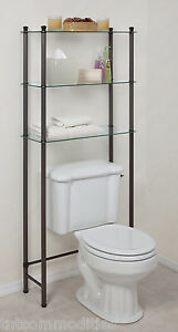 L Etagere Over Toilet Space Saver 3 Shelf Tempered Glass