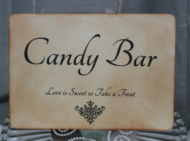 CANDY BAR SIGN-Wedding-Sweet Buffet-Vintage Style-Unique-Handmade for You