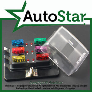 6 way blade fuse box 1 positive bus in 12v led warning kit car image is loading 6 way blade fuse box 1 positive bus