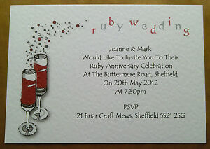 Personalised Ruby Wedding Anniversary Invitations With Envs Chf