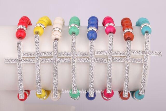Handmade Turquoise Crystal Rhinestone Cross Elasticity Bracelet