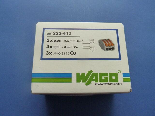50x WAGO Klemmen mit Hebel 222-413