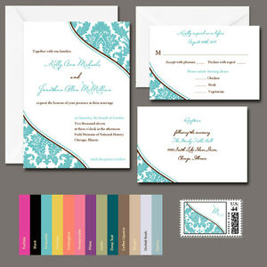 image is loading 100 personalized damask wedding invitations any color with - Damask Wedding Invitations