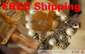 Retro-Key-Crown-Beauty-Charm-Imitation-pearl-Bracelet