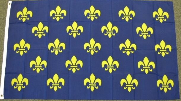 3X5 FLEUR DE LIS FLAG FRENCH ROYAL COAT OF ARMS PRE 1376 FRANCE BLUE GOLD F093