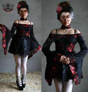 Lolita-Waloli-Cosplay-Off-Shoulder-Kimono-Choker-Dress-Damask-Obi-Corset-Belt