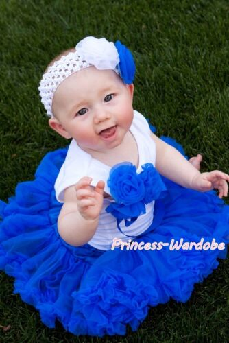 Newborn Baby Royal Blue Pettiskirt Tutu with a Bunch of Rose White Top Set 3-12M