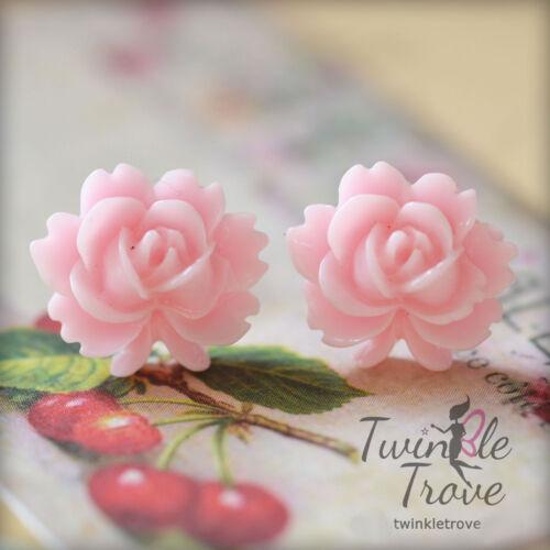 Clip-Aretes Stud muchas opciones de color Tallado con motivos florales de inspiración vintage