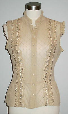 Free People nude tan beige lace mesh lace victorian layering stretch top M