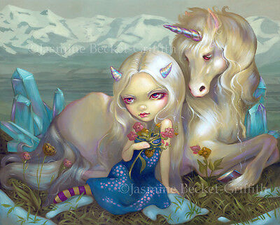 Jasmine Becket-Griffith art BIG print SIGNED Fiona and the Unicorn flowers pop