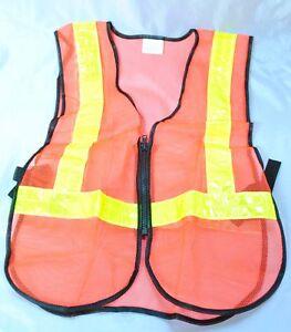 Reflective Hi Vis Bright Orange Safety Vest New Ebay