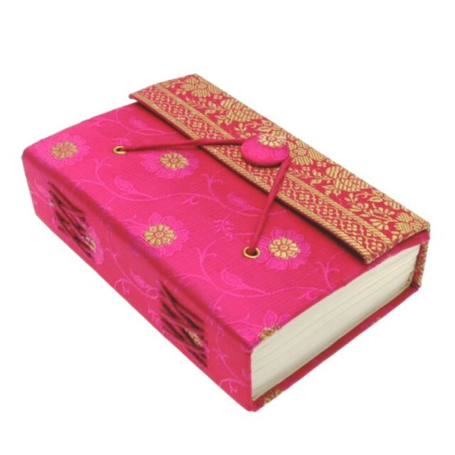 Fair Trade Handmade Cerise Small Sari Journal Notebook Diary, Eco Friendly Paper