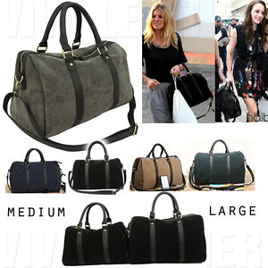 DESIGNER FAUX SUEDE BOSTON BAG Women's Large Shoulder Travel ...