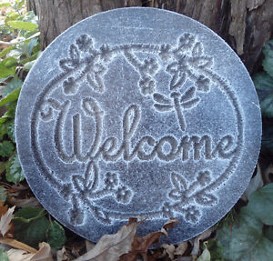 plastic plaque mold welcome garden plaque stepping stone ebay. Black Bedroom Furniture Sets. Home Design Ideas