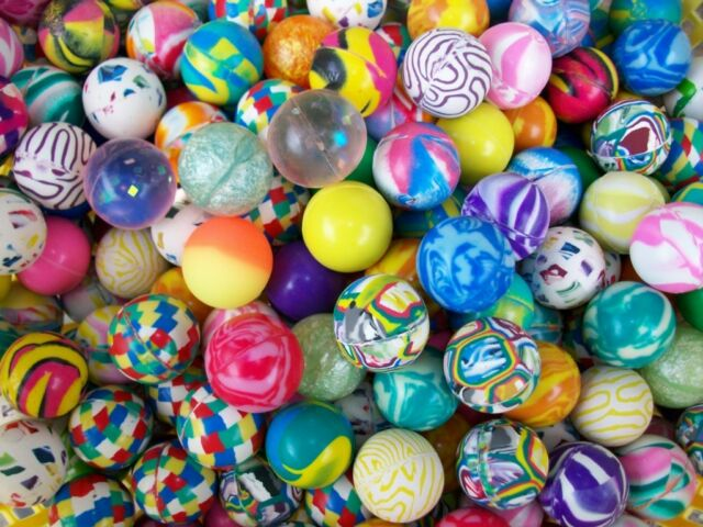 """100 Bouncy Balls 1"""" Bounce Party Fillers Super Favors Mardi Gras Mothers Day"""