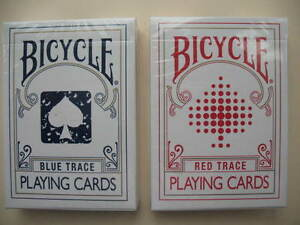 Lot-2-New-Rare-Trace-Decks-1-BLUE-1-RED-Bicycle-Playing-Cards