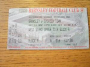 14111998 Ticket Barnsley v Ipswich Town  Folded No obvious faults unless - <span itemprop=availableAtOrFrom>Birmingham, United Kingdom</span> - Returns accepted within 30 days after the item is delivered, if goods not as described. Buyer assumes responibilty for return proof of postage and costs. Most purchases from business s - Birmingham, United Kingdom