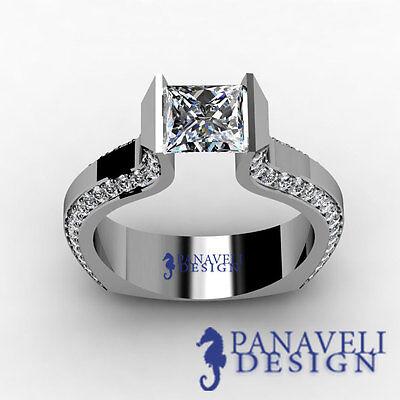 Tension Set 1.20 ct Princess Cut Diamond Engagement Ring 14k White Gold