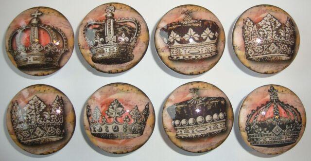 """2"""" Handmade Vintage Pink n Brown Tiara Crown -- 8 Knobs"""