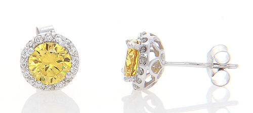 Sterling Silver Halo Style Round Cut Yellow Sapphire Cubic Zirconia Earrings
