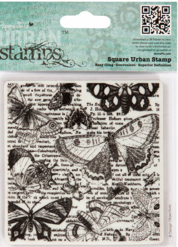 Docrafts urban stamp beautiful lepidopterology Butterflies & Moths 9x9cm