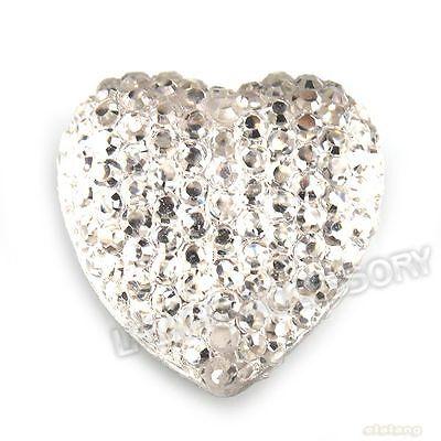 60x 24313 Heart Rhinestones Sew-on Flatback Buttons 18mm Embellishment Lots LC