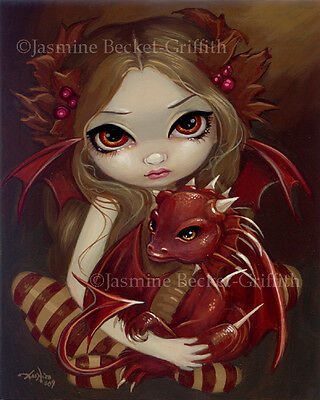 Jasmine Becket-Griffith art print SIGNED Sienna Dragonling fairy red sepia baby