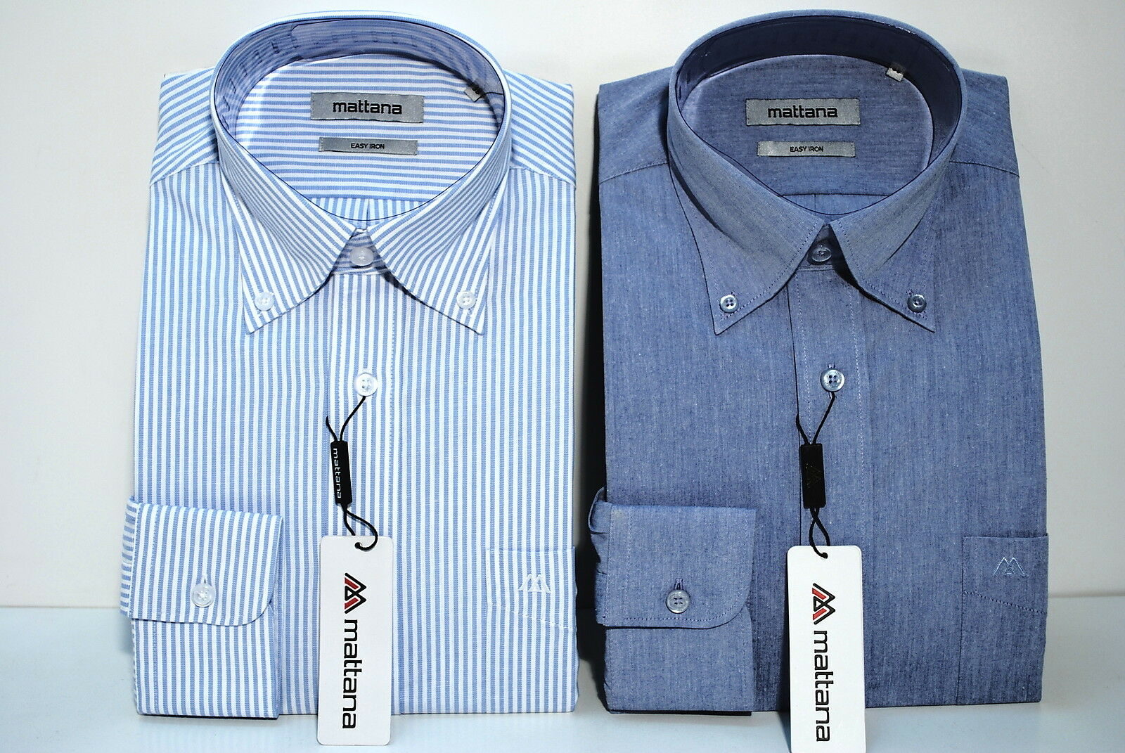 DUE CAMICIE COTONE PURO TG 38 STIRA FACILE COLLO BUTTON DOWN UOMO MANICA LUNGA