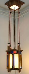Hanging-Ceiling-Lamp-Dutch-art-deco-Haagse-School-ca-1920-leaded-glass-amp-wood