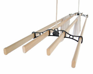 FOUR-LATH-Victorian-Vintage-Ceiling-Pulley-Maid-Clothes-Airer-Kitchen-Maid