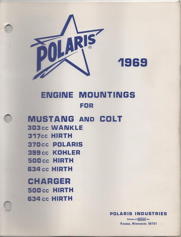 1969 POLARIS SNOWMOBILE ENGINE MOUNTINGS PARTS LIST