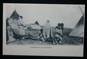 """1900 Native Indian French RPPC """"Camp of the Savages"""""""