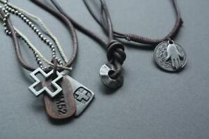 3-NEW-Leather-Mens-Hemp-Metal-Surfer-Necklace-Choker