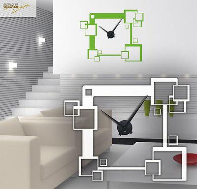 Wandtattoo Uhr Wanduhr mit Uhrwerk für Wohnzimmer trendige Quadrate - Cubes