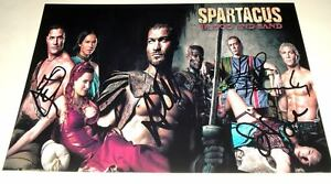 SPARTACUS-BLOOD-SAND-CAST-X4-PP-SIGNED-12-X8-POSTER