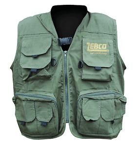 Zebco-Fishing-Waistcoat-Multi-Pocket-Fly-Vest-Fly-Carp-Fishing-Tackle-Flies