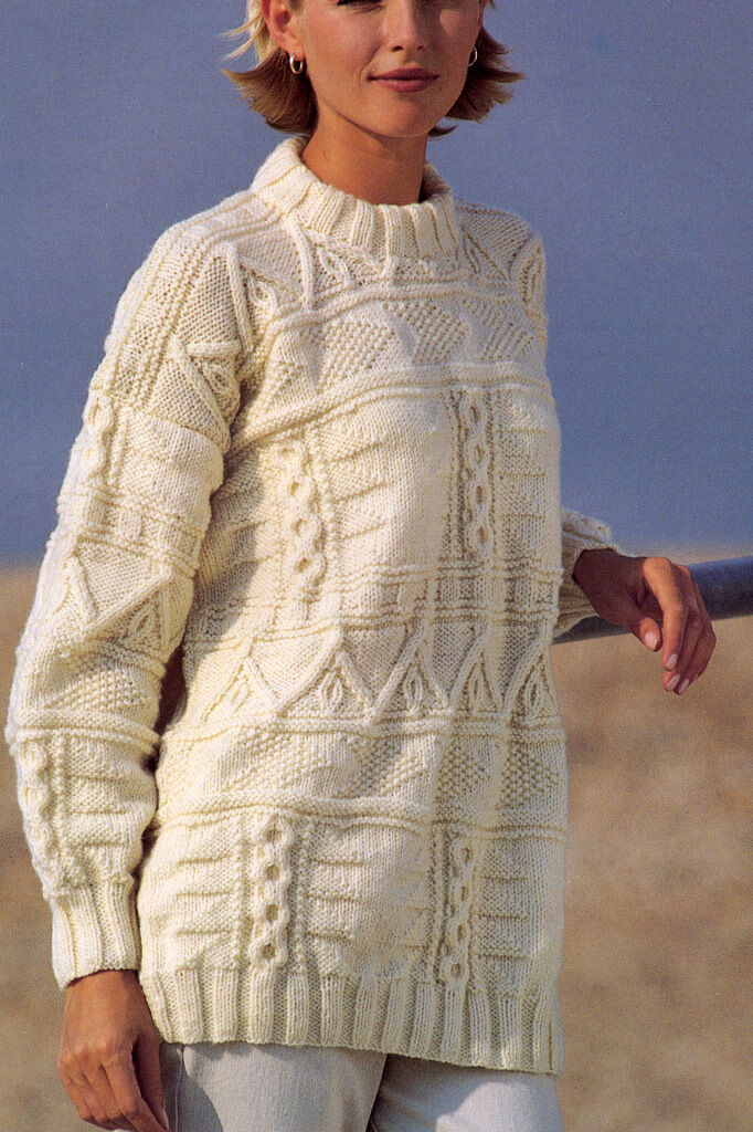 Sampler Aran Sweater Knitting Pattern Loose Fit Wool