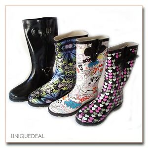 NEW-WOMEN-RAIN-BOOTS-TEXTILE-LINING-LIGHT-WEIGHT-FLEXIBLE-SOLE-WITH-COOL-PRINTS