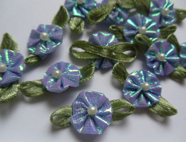 "7/8""(W) Metallic French Blue Fancy Ribbon Flowers + Bead -Lots 48 pcs-R0096U"