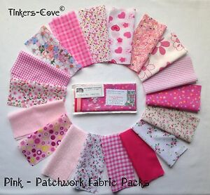 PINK-Patchwork-Craft-Bundle-Fabric-Material-Remnants-FREE-Ribbon-amp-Buttons