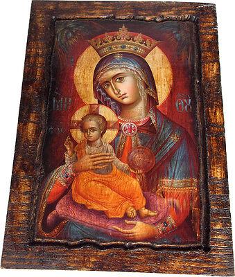 VIRGIN MARY - Orthodox icon on wood handmade (22.5cm x 17cm)