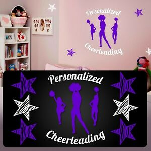Cheerleading room decal,Cheerleader personalized decal,fathead style stickers