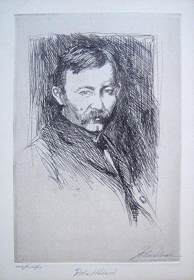 """JOHN SLOAN Signed 1902 Original Etching - """"Robert Henri"""""""