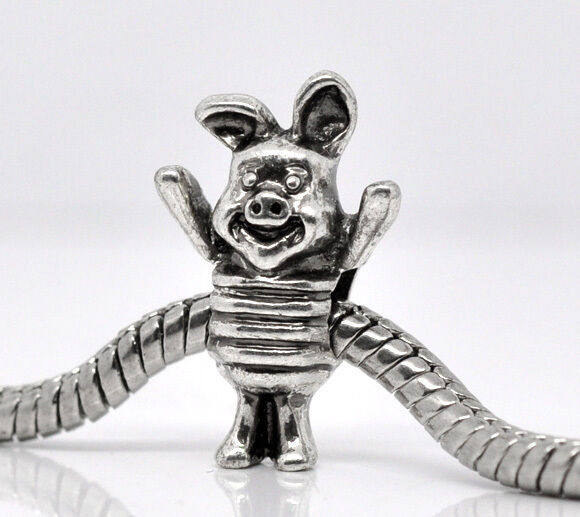 Silver Piglet Charms Bead For Charm Bracelets