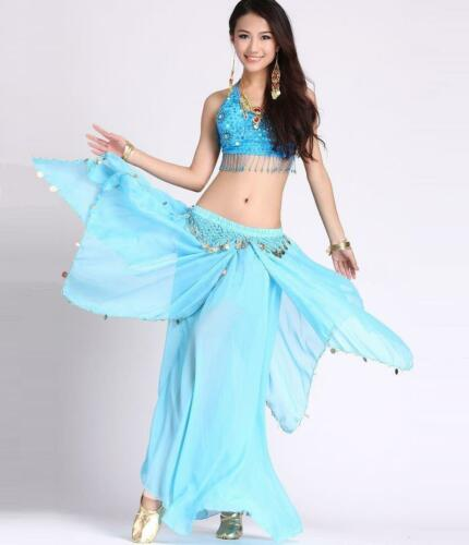 Belly Dance Costume (5 Flower Top,Gold Coins Skirt) 11 Colors
